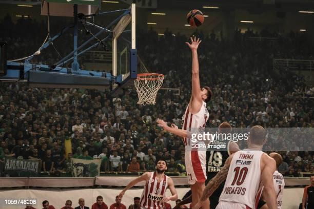 Nikola Milutinov seen in action during the 2018/2019 Turkish Airlines EuroLeague Regular Season Round 6 game between Panathinaikos OPAP Athens and...