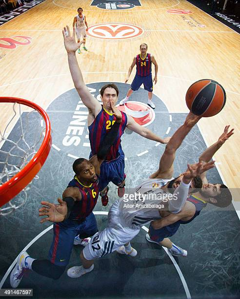 Nikola Mirotic #12 of Real Madrid in action during the Turkish Airlines EuroLeague Final Four Semi Final A between FC Barcelona v Real Madrid at...