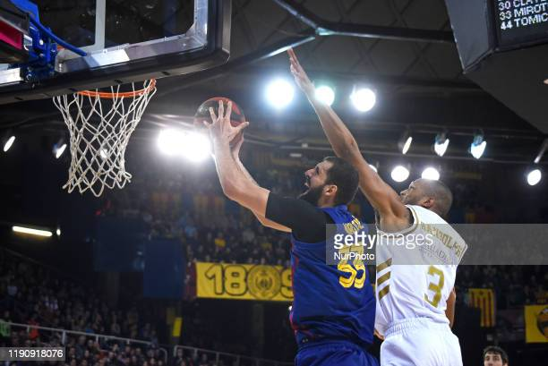 Nikola Mirotic and Anthony Randolph during the match between FC Barcelona and Real Madrid, corresponding to the week 16 of the Liga ACB, played at...
