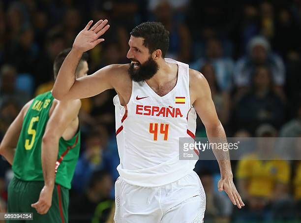 Nikola Mirotic of Spain celebrates a play during the Men's Preliminary Round Group B between Spain and Lithuania on Day 8 of the Rio 2016 Olympic...