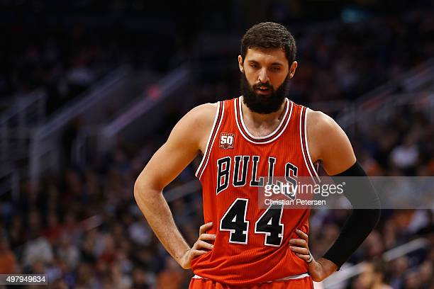 Nikola Mirotic of the Chicago Bulls during the NBA game against the Phoenix Suns at Talking Stick Resort Arena on November 18 2015 in Phoenix Arizona...