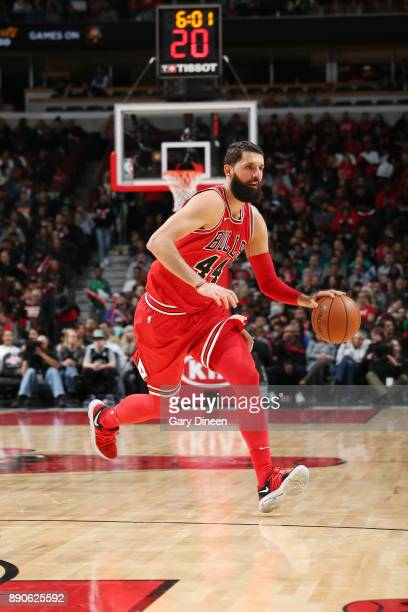 Nikola Mirotic of the Chicago Bulls handles the ball against the Boston Celtics on December 11 2017 at the United Center in Chicago Illinois NOTE TO...
