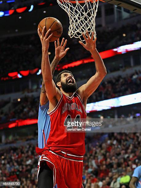 Nikola Mirotic of the Chicago Bulls puts up a shot on his way to a gamehigh 29 points against the Los Angeles Clippers at the United Center on March...