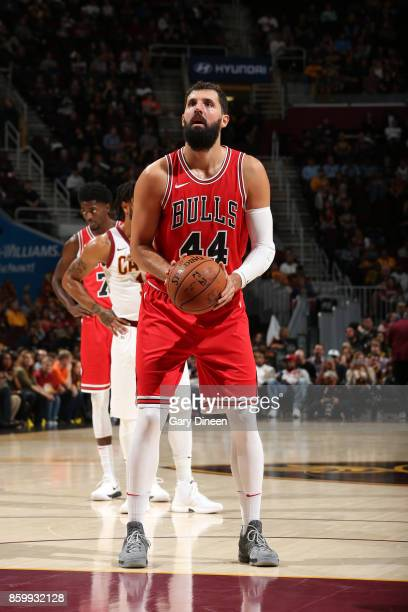 Nikola Mirotic of the Chicago Bulls shoots a free throw against the Cleveland Cavaliers during a preseason game on October 10 2017 at Quicken Loans...