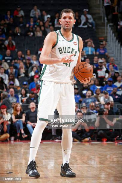 Nikola Mirotic of the Milwaukee Bucks handles the ball against the Detroit Pistons during Game Four of Round One of the 2019 NBA Playoffs on April 22...