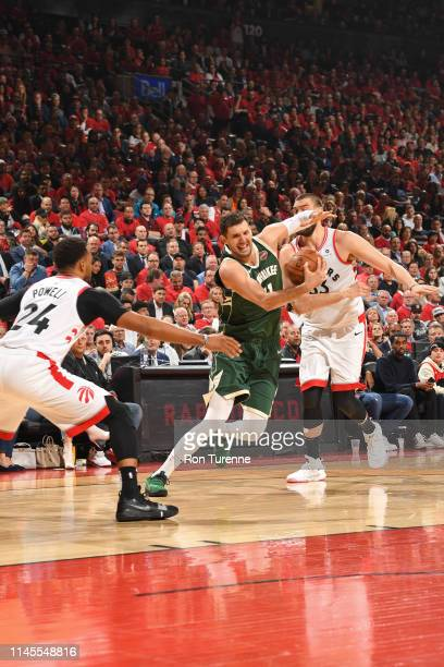 Nikola Mirotic of the Milwaukee Bucks handles the ball against the Toronto Raptors during Game Four of the Eastern Conference Finals on May 21 2019...