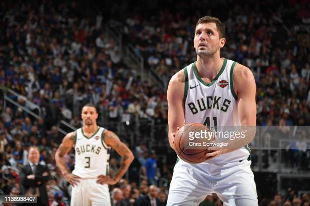 Nikola Mirotic of the Milwaukee Bucks shoots a free throw against the Detroit Pistons during Game Four of Round One of the 2019 NBA Playoffs on April...