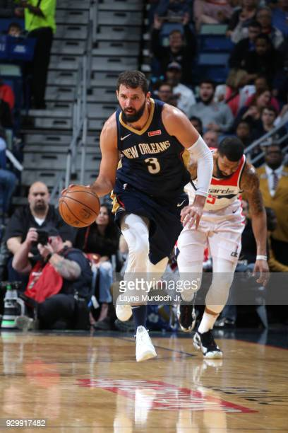 Nikola Mirotic of the New Orleans Pelicans brings the ball up court against the Washington Wizards on March 9 2018 at Smoothie King Center in New...