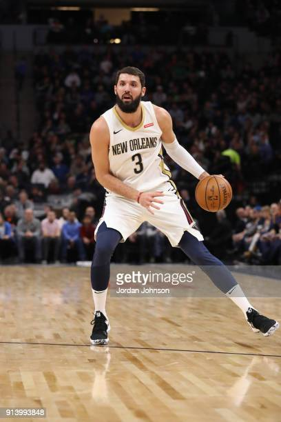 Nikola Mirotic of the New Orleans Pelicans handles the ball against the Minnesota Timberwolves on February 3 2018 at Target Center in Minneapolis...