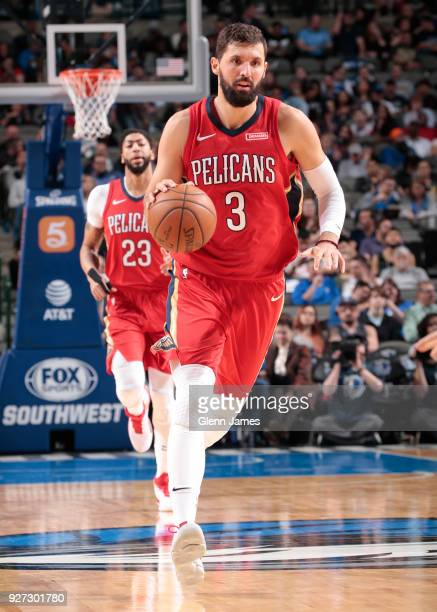 Nikola Mirotic of the New Orleans Pelicans handles the ball against the Dallas Mavericks on March 4 2018 at the American Airlines Center in Dallas...