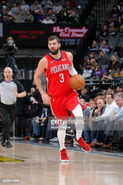 Nikola Mirotic of the New Orleans Pelicans handles the ball against the Sacramento Kings on March 7 2018 at Golden 1 Center in Sacramento California...