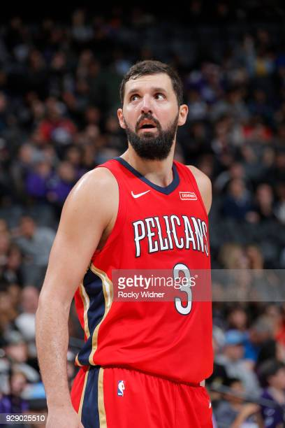 Nikola Mirotic of the New Orleans Pelicans looks on during the game against the Sacramento Kings on March 7 2018 at Golden 1 Center in Sacramento...
