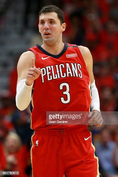 Nikola Mirotic of the New Orleans Pelicans reacts after scoring a three pointer against the Golden State Warriors during the first half of Game Three...