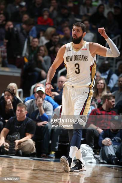 Nikola Mirotic of the New Orleans Pelicans reacts during game against the Minnesota Timberwolves on February 3 2018 at Target Center in Minneapolis...