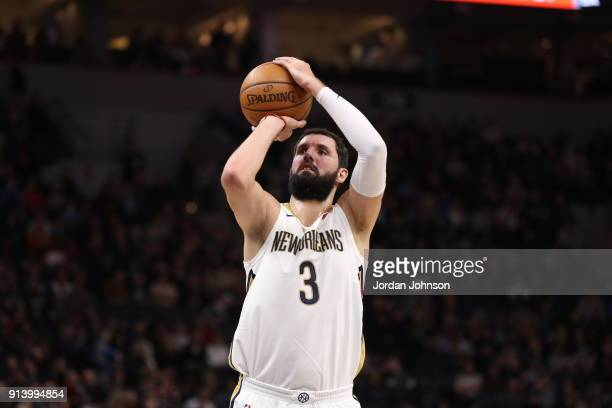 Nikola Mirotic of the New Orleans Pelicans shoots the ball against the Minnesota Timberwolves on February 3 2018 at Target Center in Minneapolis...