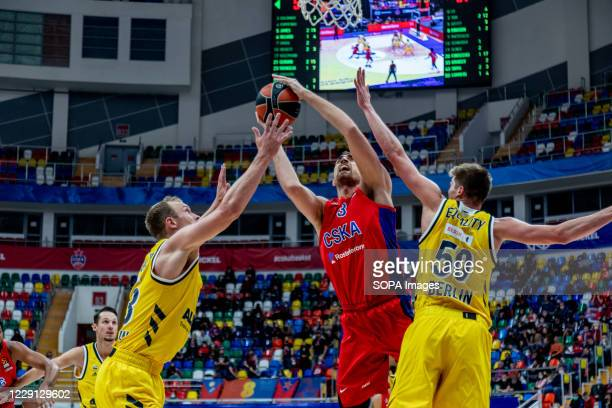 Nikola Mulitunov #33 of CSKA Moscow in action against Alba Berlin during the Turkish Airlines EuroLeague Round 4 of 20202021 season at the Megasport...