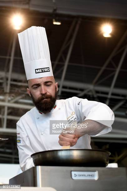 Nikola Nikolov of Bulgaria cooks during the Europe 2018 Bocuse d'Or International culinary competition Best ten teams will access to the world final...