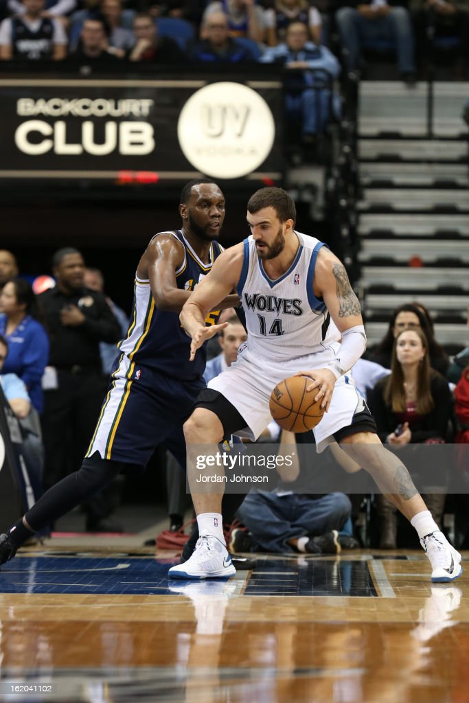 Nikola Pekovic #14 of the Minnesota Timberwolves drives to the basket against the Utah Jazz on February 13, 2013 at Target Center in Minneapolis, Minnesota.