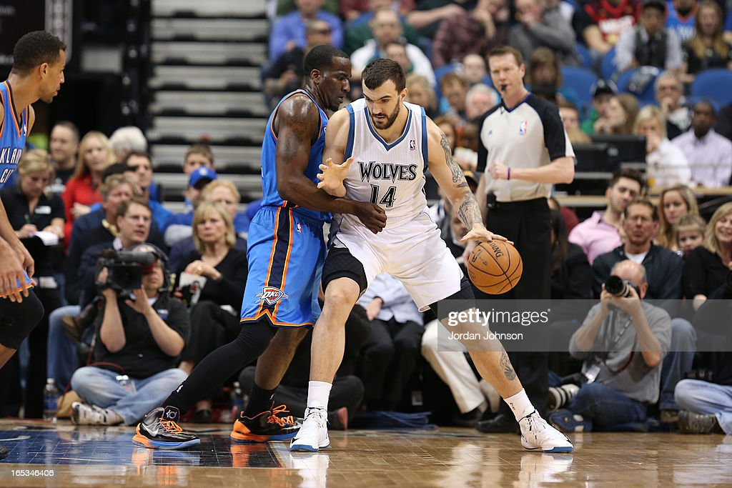 Nikola Pekovic #14 of the Minnesota Timberwolves looks to drive to the basket against the Oklahoma City Thunder on March 29, 2013 at Target Center in Minneapolis, Minnesota.
