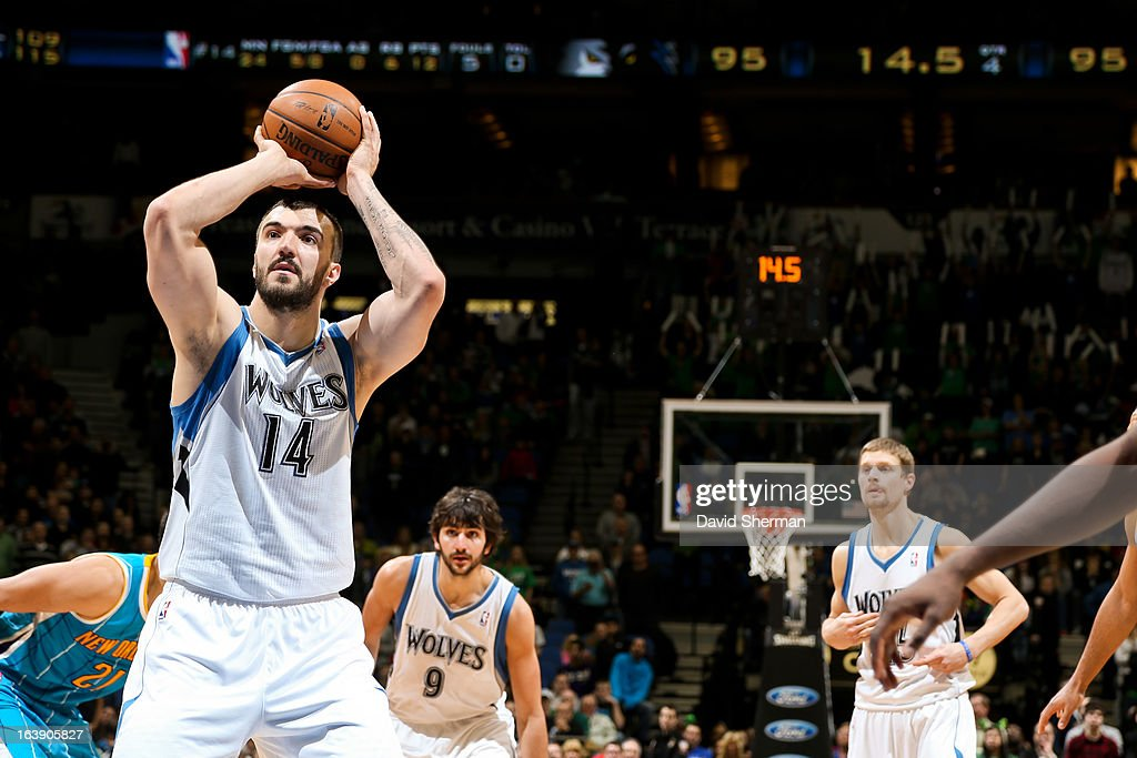 Nikola Pekovic #14 of the Minnesota Timberwolves makes a go-ahead free-throw late in the fourth quarter against the New Orleans Hornets on March 17, 2013 at Target Center in Minneapolis, Minnesota.