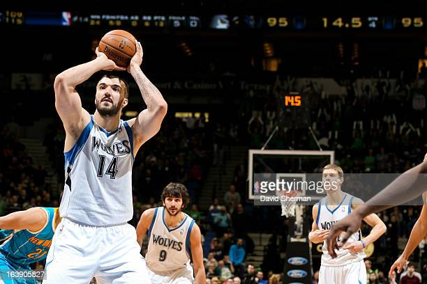 Nikola Pekovic of the Minnesota Timberwolves makes a goahead freethrow late in the fourth quarter against the New Orleans Hornets on March 17 2013 at...