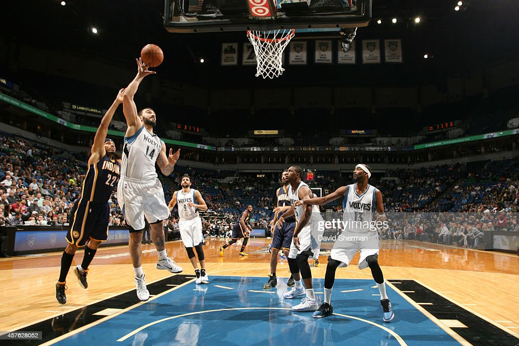 Nikola Pekovic #14 of the Minnesota Timberwolves shoots against the Indiana Pacers on October 21, 2014 at Target Center in Minneapolis, Minnesota.