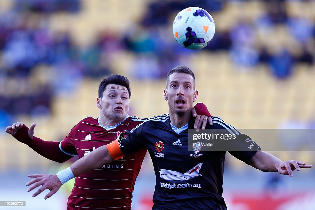 Nikola Petkovic of Sydney FC (R) and Mauro Zarate of West Ham (L) contest the ball during the Football United New Zealand Tour match between Sydney FC and West Ham United at Westpac Stadium on July 26, 2014 in Wellington, New Zealand.