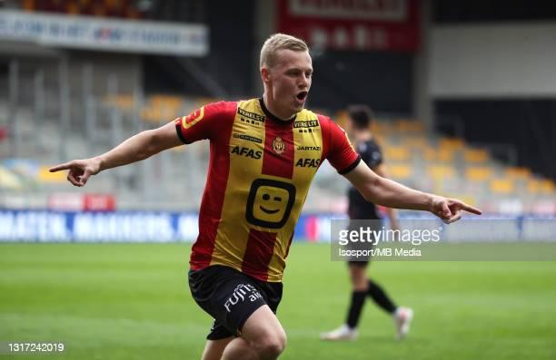 Nikola Storm of KV Mechelen celebrates after scoring the 3-2 goal during the Jupiler Pro League Europe play-offs match day 2 between KV Mechelen and...