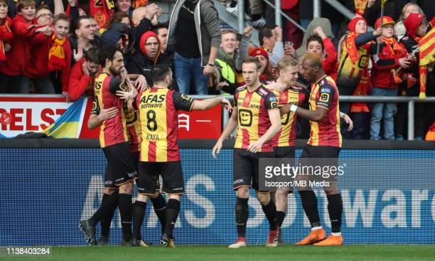 Nikola Storm of Mechelen celebrates after scoring a goal during the Proximus League test match between Kv Mechelen and Kfco Beerschot Wilrijk on...