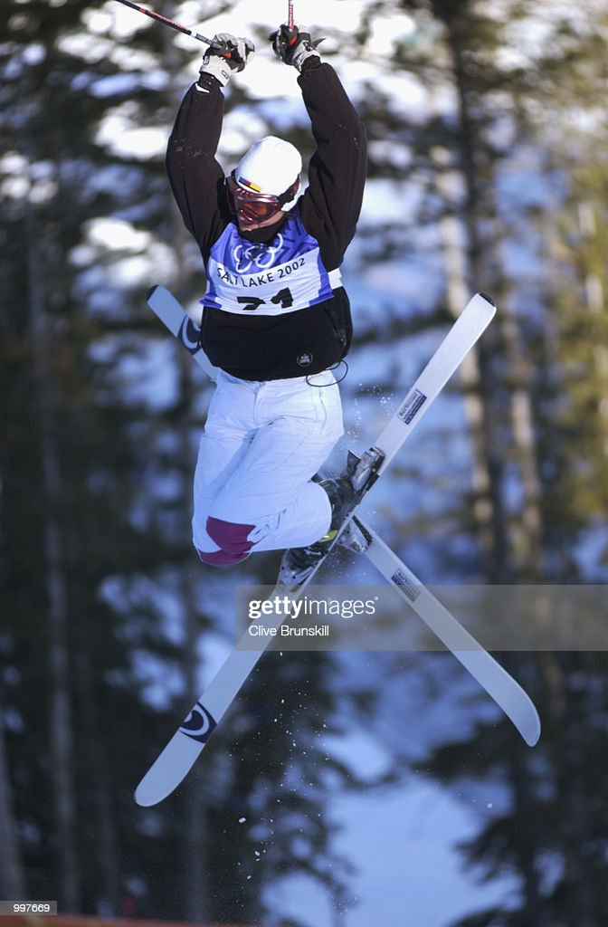 Nikola Sudova of the Czeh Republic in action during the qualifying round of the women's moguls during the Salt Lake City Winter Olympic Games on February 9, 2002 at the Deer Valley Resort in Salt Lake City, Utah.