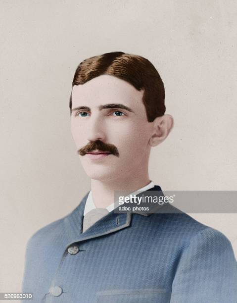 Nikola Tesla SerbianAmerican inventor electrical engineer mechanical engineer and physicist circa 1885 Colorized version of a photograph by Napoleon...
