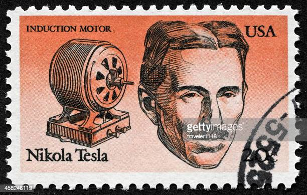 nikola tesla stamp - nikola tesla stock photos and pictures