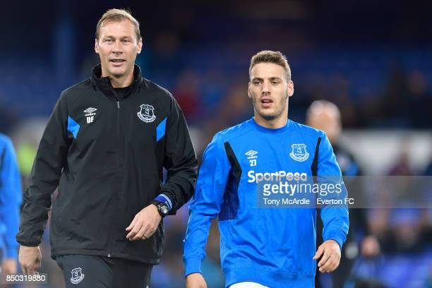 Nikola Vlasic and Duncan Ferguson of Everton before the Carabao Cup Third Round match between Everton and Sunderland at Goodison Park on September 20...