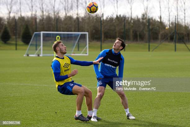 Nikola Vlasic and Leighton Baines during the Everton FC training session at USM Finch Farm on March 15 2018 in Halewood England