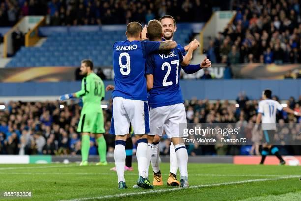Nikola Vlasic celebrates his goal with Gylfi Sigurdsson and Sandro Ramirez during the UEFA Europa League match between Everton and Apollon Limassol...