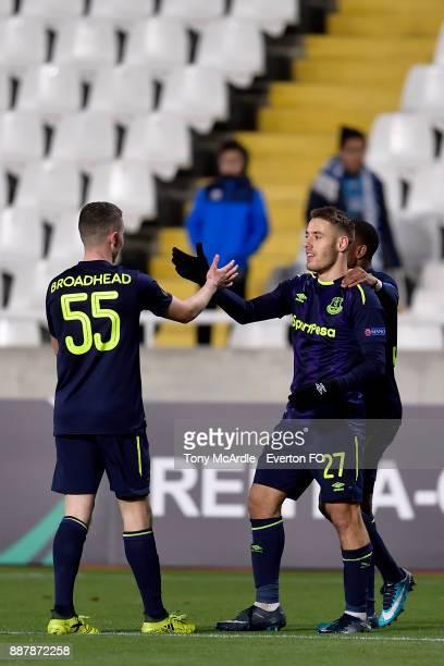 Nikola Vlasic celebrates his goal with Nathan Broadhead during the UEFA Europa League Group E match between Apollon Limassol and Everton at GSP...