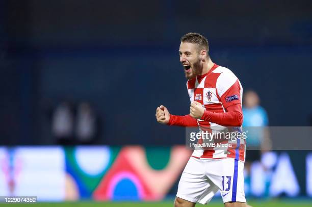 Nikola Vlasic of Croatia celebrates after scoring his team's first goal during the UEFA Nations League Group A3 stage match between Croatia and...