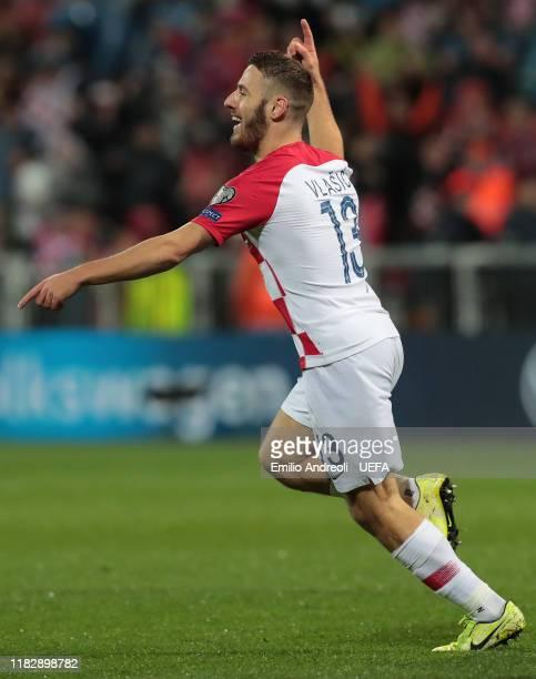 Nikola Vlasic of Croatia celebrates his goal during the UEFA Euro 2020 Qualifier between Croatia and Slovakia on November 16, 2019 in Rijeka, Croatia.