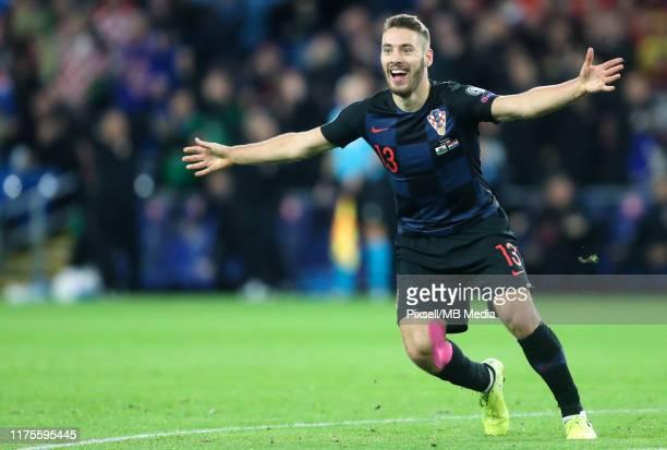 Nikola Vlasic of Croatia celebrating after scoring goal during the UEFA Euro 2020 qualifier between Wales and Croatia at Cardiff City Stadium on...