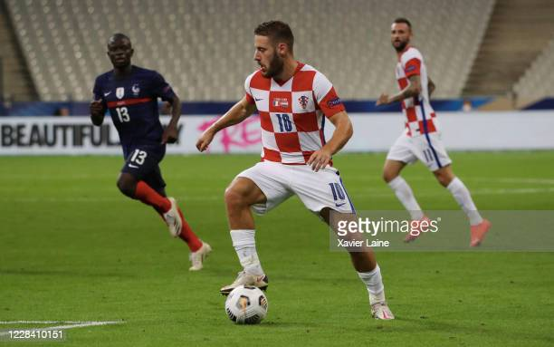 Nikola Vlasic of Croatia in action during the UEFA Nations League group stage match between France and Croatia at Stade de France on September 8 2020...