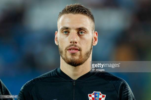Nikola Vlasic of Croatia looks on prior to the 2019 UEFA U-21 Group C match between Croatia and England at San Marino Stadium on June 24, 2019 in...