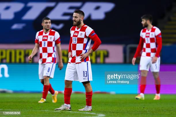 Nikola Vlasic of Croatia shows his dejection during the UEFA Nations League group stage match between Sweden and Croatia at Friends Arena on November...