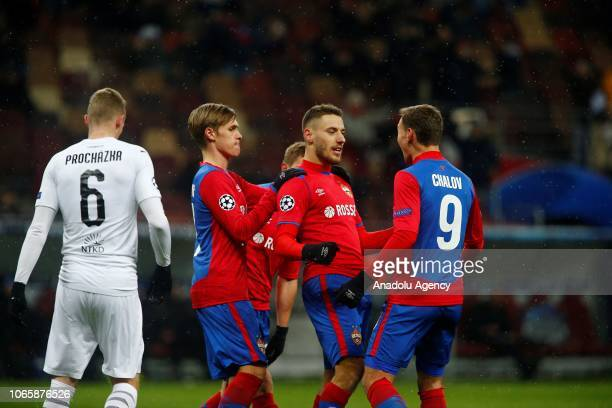 Nikola Vlasic of CSKA Moscow celebrates after scoring a goal from the penalty during UEFA Champions League Group G soccer match between CSKA Moscow...