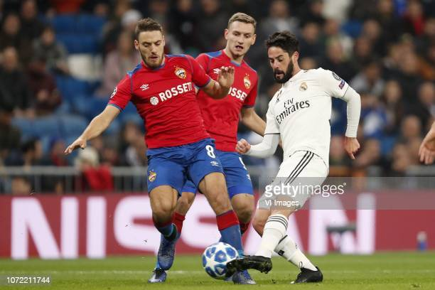 Nikola Vlasic of CSKA Moscow, Fedor Chalov of CSKA Moscow, Isco of Real Madrid during the UEFA Champions League group G match between Real Madrid and...