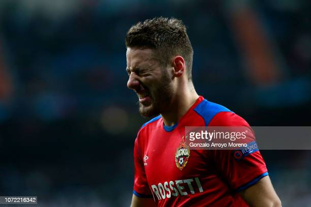 Nikola Vlasic of CSKA Moscow reacts during the UEFA Champions League Group G match between Real Madrid and CSKA Moscow at Bernabeu on December 12,...