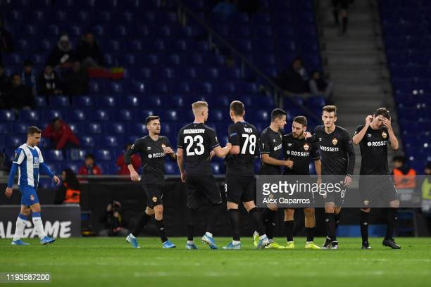 Nikola Vlasic of CSKA Moskva celebrates with teammates after scoring his team's first goal during the UEFA Europa League group H match between...