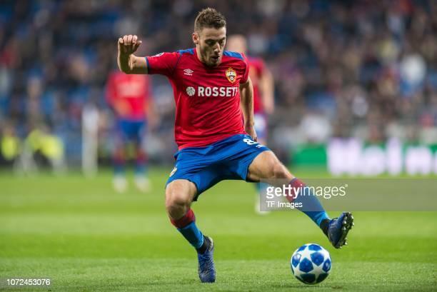 Nikola Vlasic of CSKA Moskva controls the ball during the UEFA Champions League Group G match between Real Madrid and CSKA Moscow at Bernabeu on...