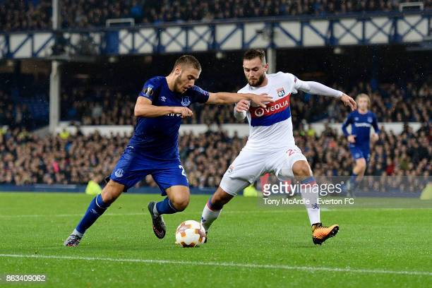 Nikola Vlasic of Everton and Lucas Tousart challenge for the ball during the UEFA Europa League group E match between Everton and Olympique Lyon at...