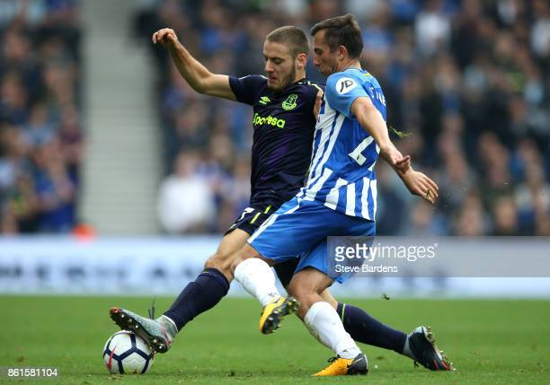 Nikola Vlasic of Everton and Markus Suttner of Brighton and Hove Albion during the Premier League match between Brighton and Hove Albion and Everton...