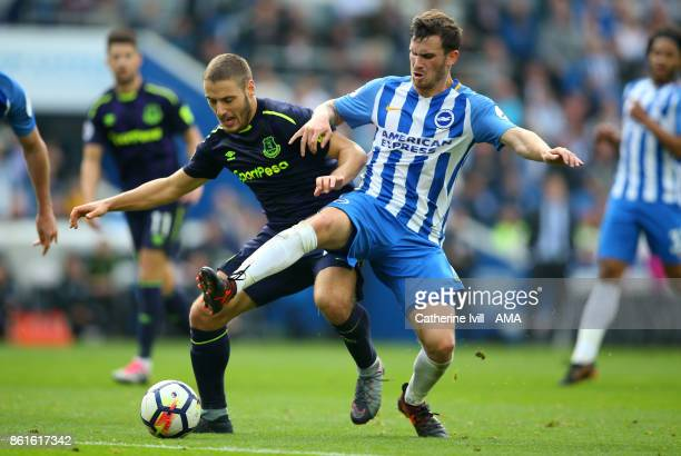 Nikola Vlasic of Everton and Pascal Gross of Brighton and Hove Albion during the Premier League match between Brighton and Hove Albion and Everton at...